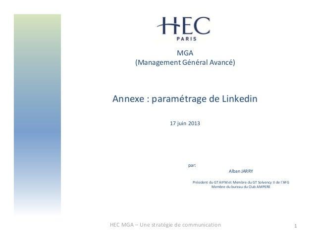 MGA(Management Général Avancé)Annexe : paramétrage de Linkedin17 juin 2013HEC MGA – Une stratégie de communication 1par:Al...