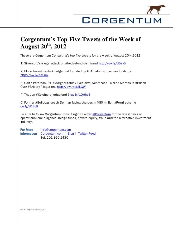Corgentum's Top Five Tweets of the Week ofAugust 20th, 2012These are Corgentum Consulting's top five tweets for the week o...