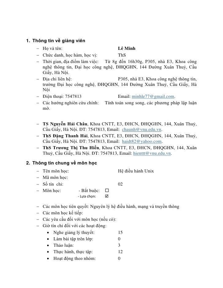 1. Thông tin về giảng viên    − Họ và tên:                          Lê Minh    − Chức danh, học hàm, học vị:         ThS  ...
