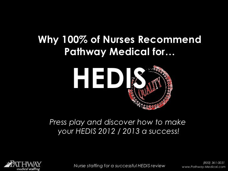 Why 100% of Nurses Recommend    Pathway Medical for…        HEDIS Press play and discover how to make   your HEDIS 2012 / ...