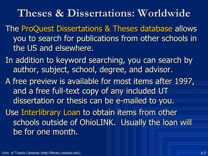 Dissertation And Theses Database