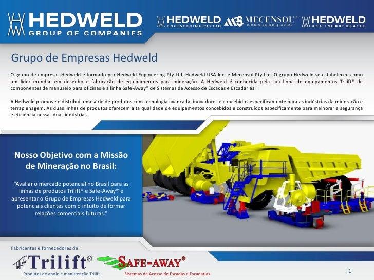Grupo de Empresas HedweldO grupo de empresas Hedweld é formado por Hedweld Engineering Pty Ltd, Hedweld USA Inc. e Mecenso...