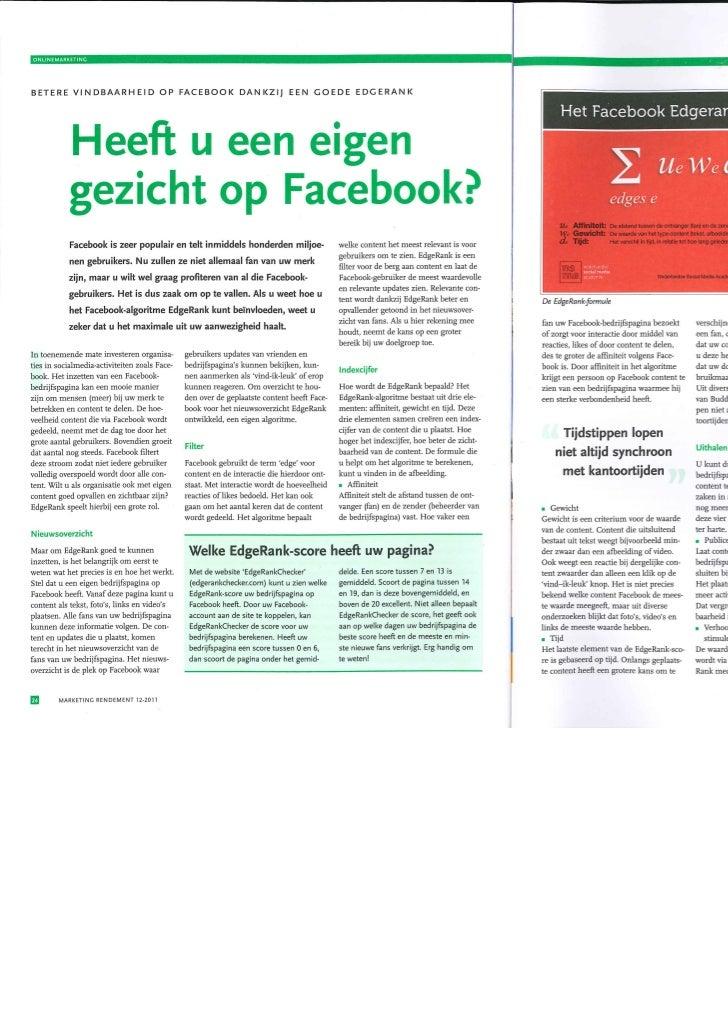 Artikel Marketing Rendement I Heeft u een eigen gezicht op facebook?  I Nederlandse Social Media Academie