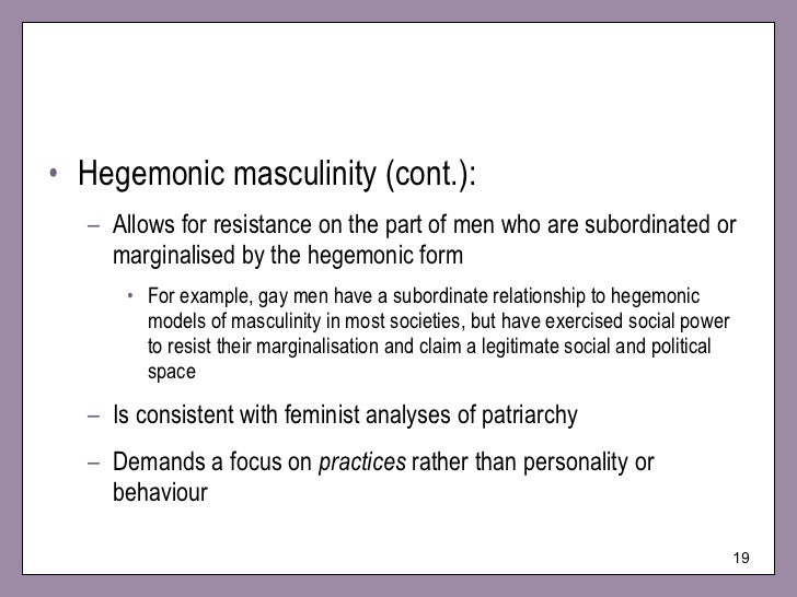 hegemonic and counter hegemonic popular culture Western violent5 hegemonicmasculinityis presentedas a thoroughly heterosexual62 non-hegemonicmasculinitiesappear as counter-hegemonic popular culture.
