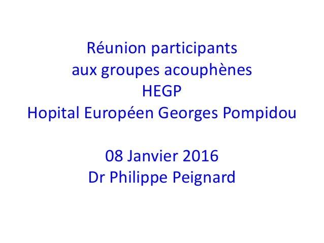 Réunion participants aux groupes acouphènes HEGP Hopital Européen Georges Pompidou 08 Janvier 2016 Dr Philippe Peignard
