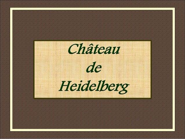 Heidelberg , située sur le Neckar est une ville d' Allemagne. Elle est dominée par le château qui ouvre une vue panoramiqu...