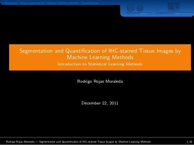Motivation Image segmentation Machine Learning methods Quantification Segmentation and Quantification of IHC-stained Tissue ...