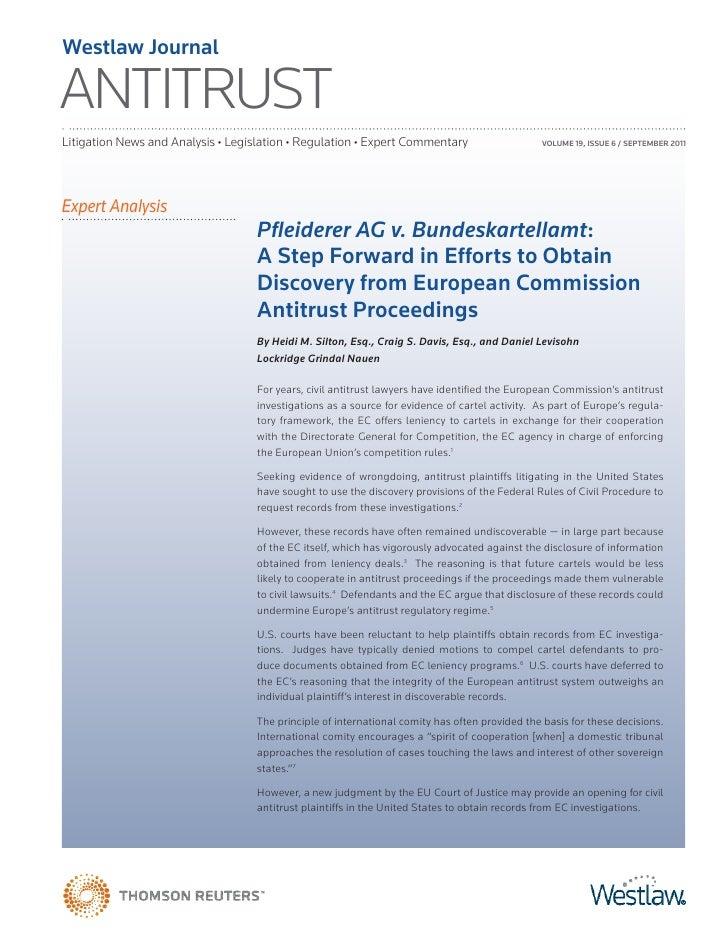 Westlaw JournalANTITRUSTLitigation News and Analysis • Legislation • Regulation • Expert Commentary                     VO...