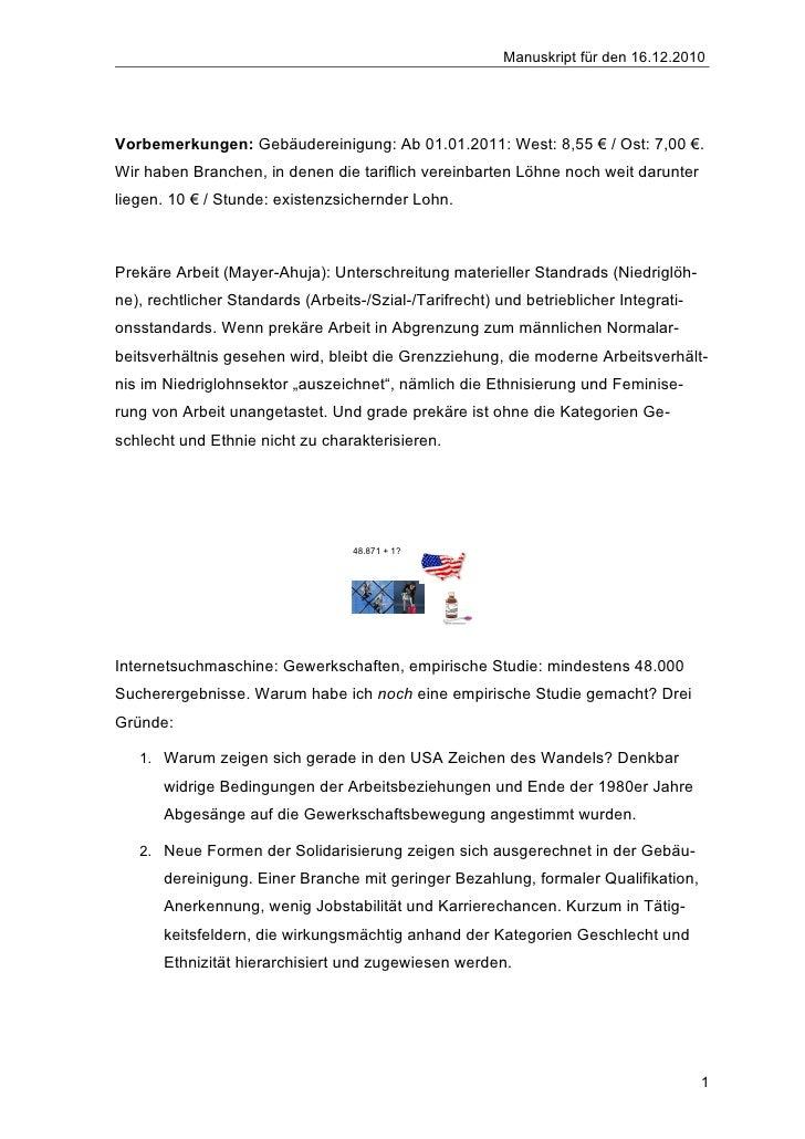Manuskript für den 16.12.2010Vorbemerkungen: Gebäudereinigung: Ab 01.01.2011: West: 8,55 € / Ost: 7,00 €.Wir haben Branche...