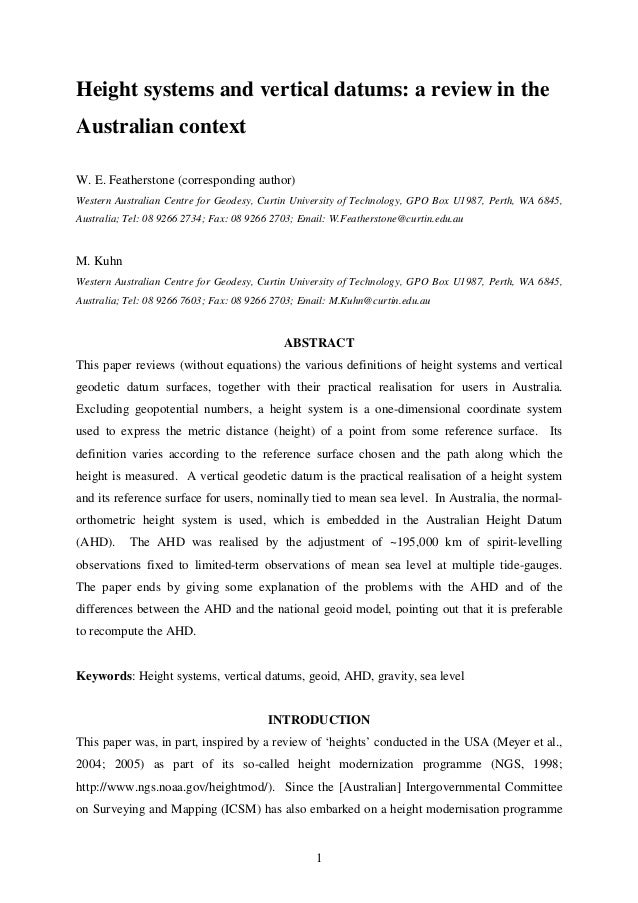 Height systems and vertical datums: a review in the Australian context W. E. Featherstone (corresponding author) Western A...
