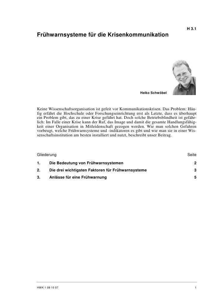 H 3.1 Frühwarnsysteme für die Krisenkommunikation                                                               Heiko Schw...