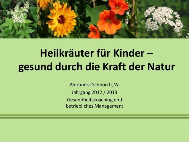Heilkräuter für Kinder –gesund durch die Kraft der Natur          Alexandra Schnörch, Va           Jahrgang 2012 / 2013   ...