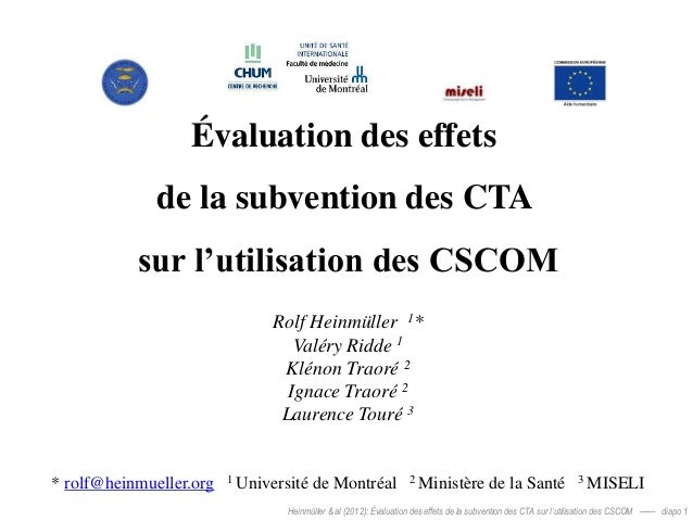 Évaluation des effets              de la subvention des CTA           sur l'utilisation des CSCOM                         ...