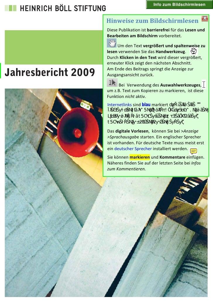 Info zum Bildschirmlesen     Jahresbericht 2009
