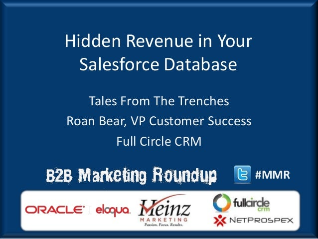 Hidden Revenue in Your  Salesforce Database   Tales From The TrenchesRoan Bear, VP Customer Success        Full Circle CRM...