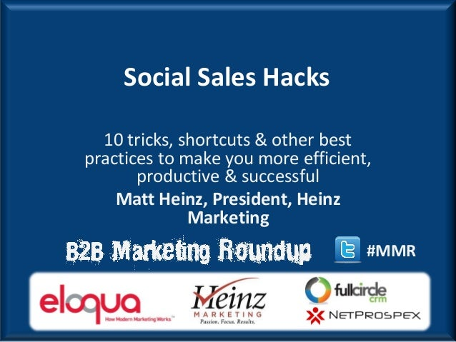 Social Sales Hacks  10 tricks, shortcuts & other bestpractices to make you more efficient,       productive & successful  ...