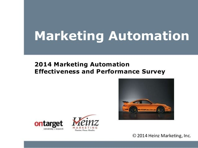 Marketing Automation 2014 Marketing Automation Effectiveness and Performance Survey © 2014 Heinz Marketing, Inc.
