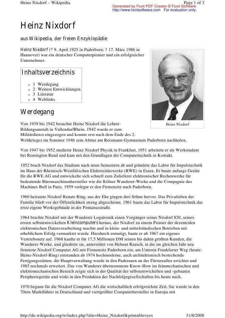 Heinz Nixdorf – Wikipedia                                                                 Page 1 of 3                     ...