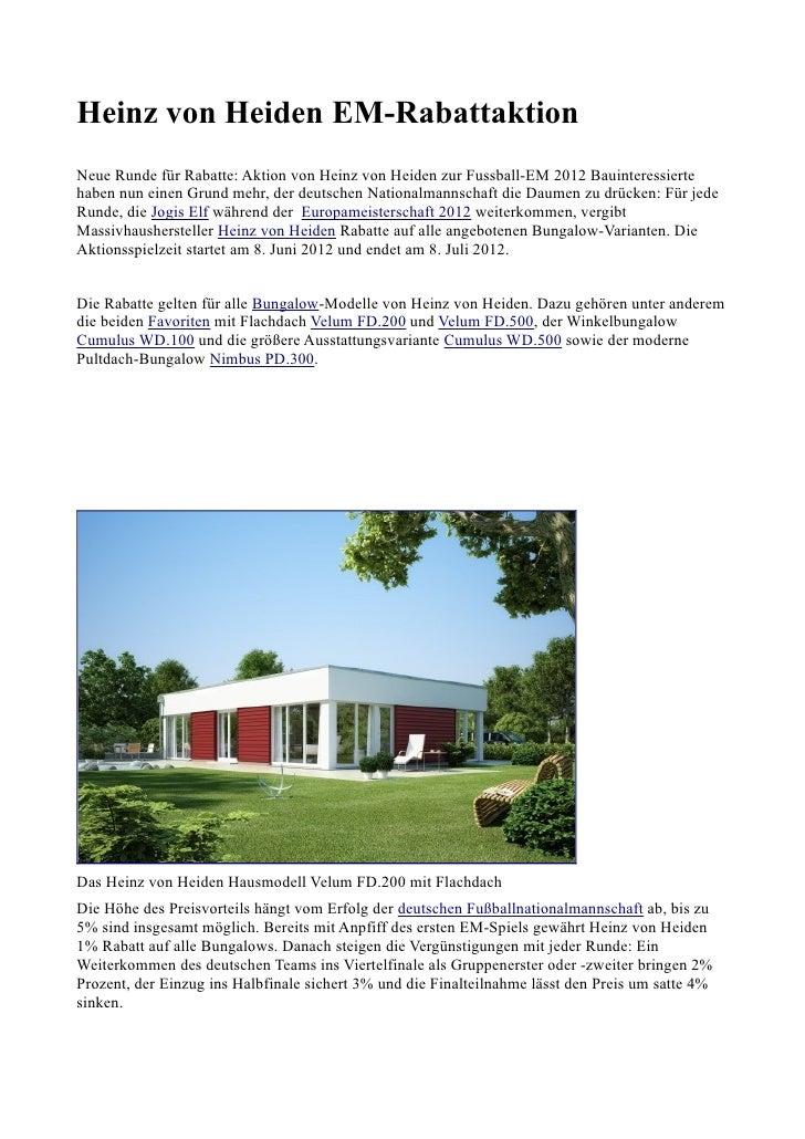 Heinz von Heiden EM-RabattaktionNeue Runde für Rabatte: Aktion von Heinz von Heiden zur Fussball-EM 2012 Bauinteressierteh...