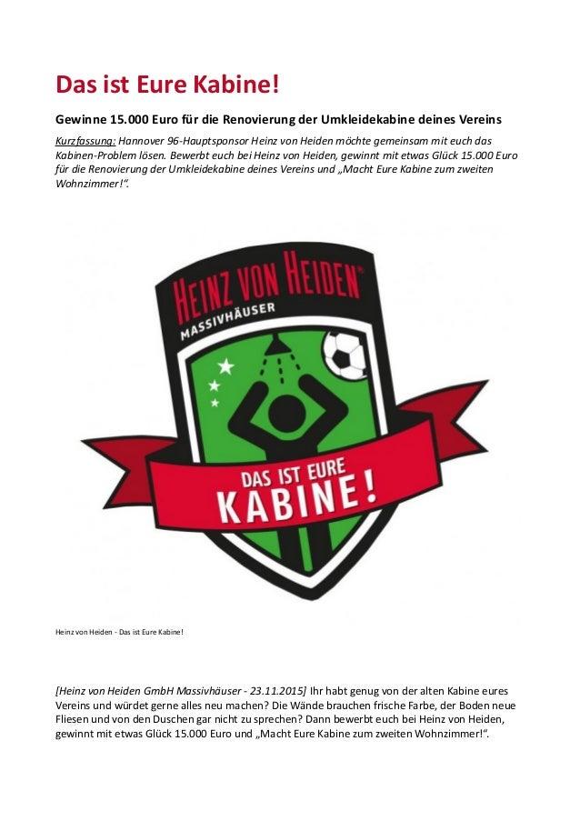 Das ist Eure Kabine! Gewinne 15.000 Euro für die Renovierung der Umkleidekabine deines Vereins Kurzfassung: Hannover 96-Ha...