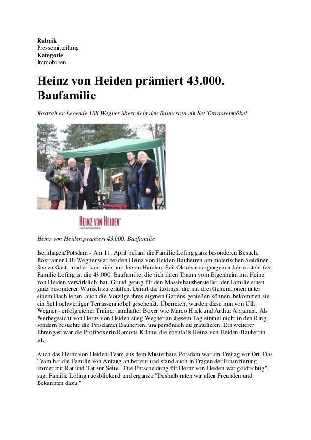 Rubrik Pressemitteilung Kategorie Immobilien Heinz von Heiden prämiert 43.000. Baufamilie Boxtrainer-Legende Ulli Wegner ü...