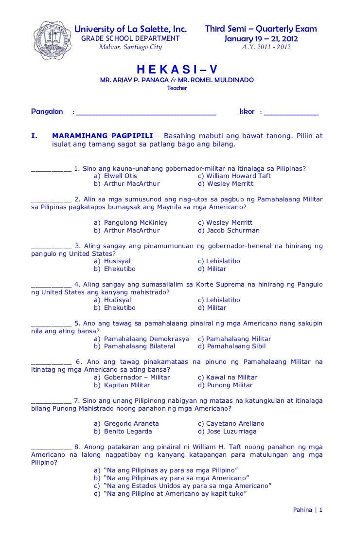 University of La Salette, Inc.              Third Semi – Quarterly Exam              GRADE SCHOOL DEPARTMENT              ...