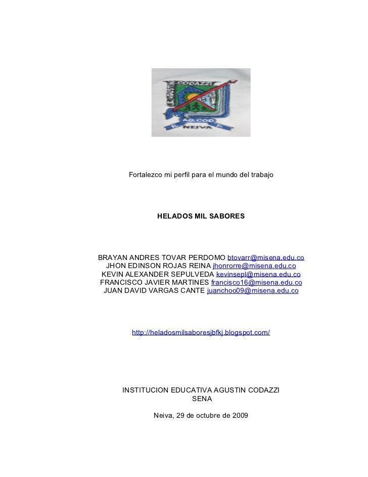 Fortalezco mi perfil para el mundo del trabajo                     HELADOS MIL SABORES     BRAYAN ANDRES TOVAR PERDOMO bto...