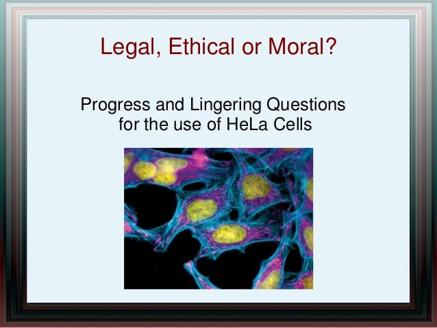 Legal, Ethical or Moral? Progress and Lingering Questions for the use of HeLa Cells