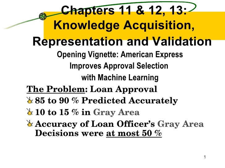 Chapters 11 & 12, 13: Knowledge Acquisition, Representation and Validation   <ul><li>Opening Vignette: American Express </...