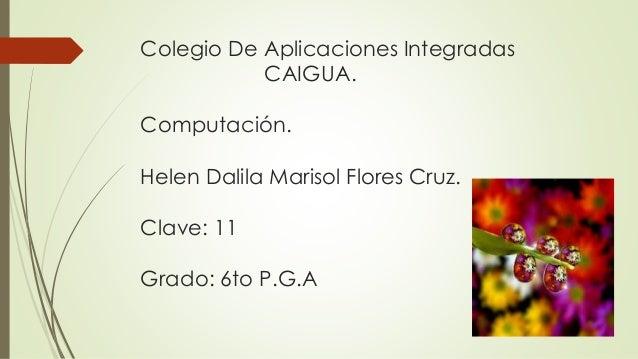 Colegio De Aplicaciones Integradas CAIGUA. Computación. Helen Dalila Marisol Flores Cruz. Clave: 11 Grado: 6to P.G.A