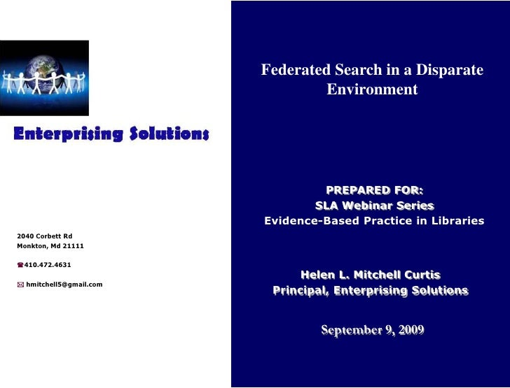 Federated Search Webinar for SLA (Special Libraries Assoc.)