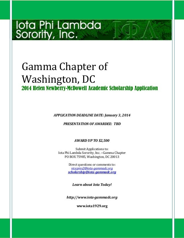 Gamma Chapter of Washington, DC 2014 Helen Newberry-McDowell Academic Scholarship Application  APPLICATION DEADLINE DATE: ...