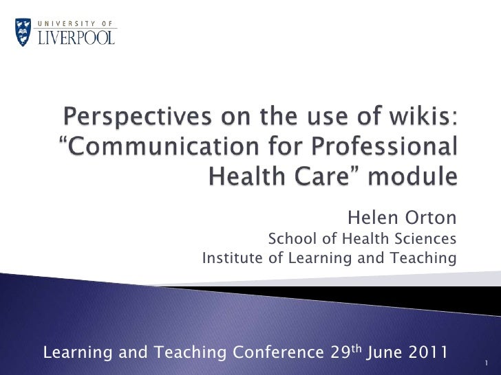 Helen orton perspectives on the use of wikis for edd. july