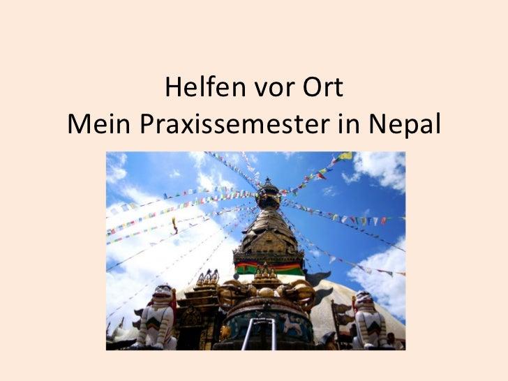 Helfen vor Ort Mein Praxissemester in Nepal