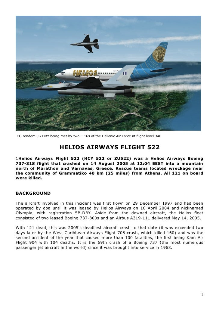 CG render: 5B-DBY being met by two F-16s of the Hellenic Air Force at flight level 340                            HELIOS A...