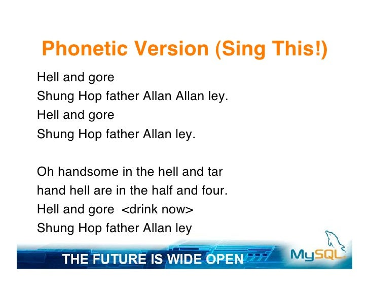 Phonetic Version (Sing This!) Hell and gore Shung Hop father Allan Allan ley. Hell and gore Shung Hop father Allan ley.  O...
