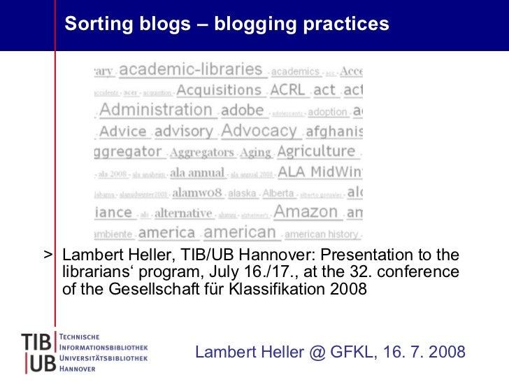 Sorting blog - blogging practices