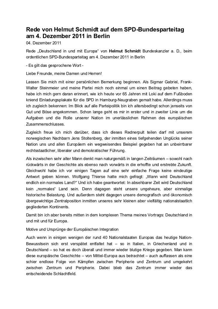 """Rede von Helmut Schmidt auf dem SPD-Bundesparteitagam 4. Dezember 2011 in Berlin04. Dezember 2011Rede """"Deutschland in und ..."""