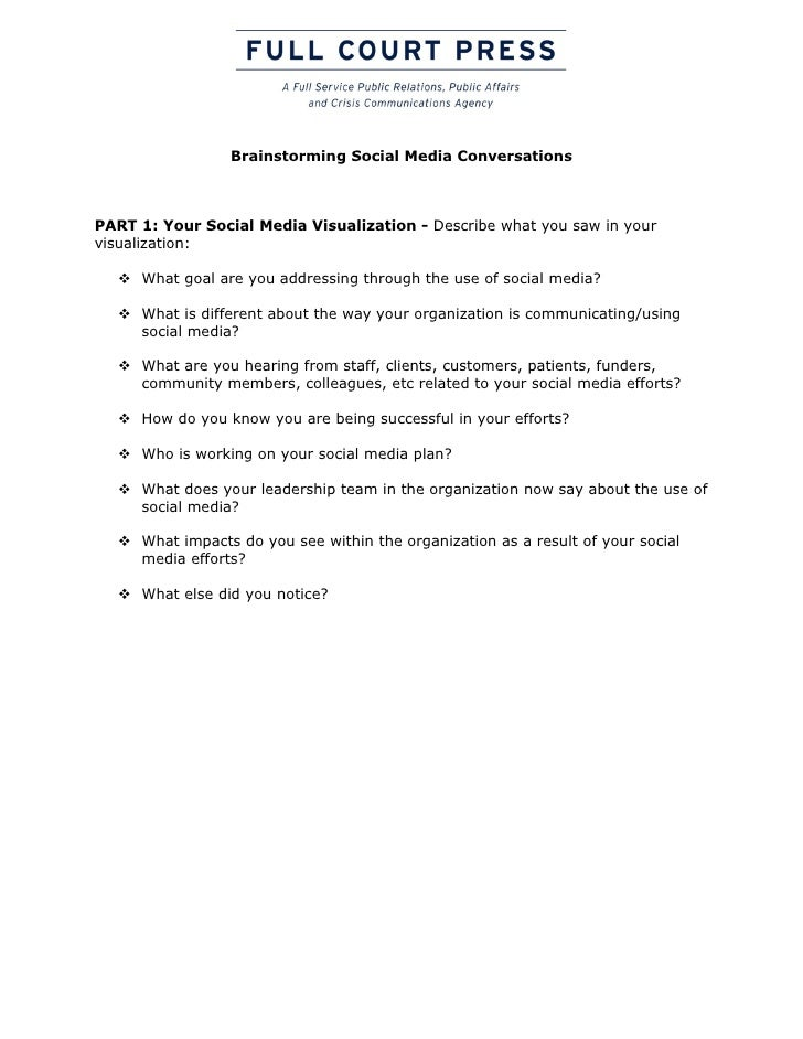 Brainstorming Social Media ConversationsPART 1: Your Social Media Visualization - Describe what you saw in yourvisualizati...