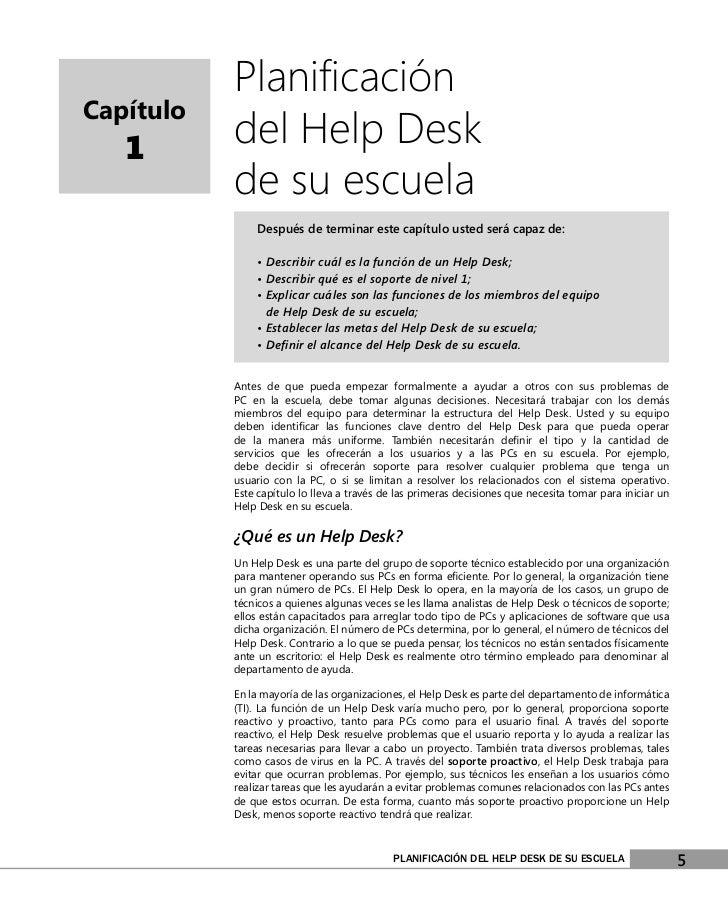 PlanificaciónCapítulo   1       del Help Desk           de su escuela                Después de terminar este capítulo uste...
