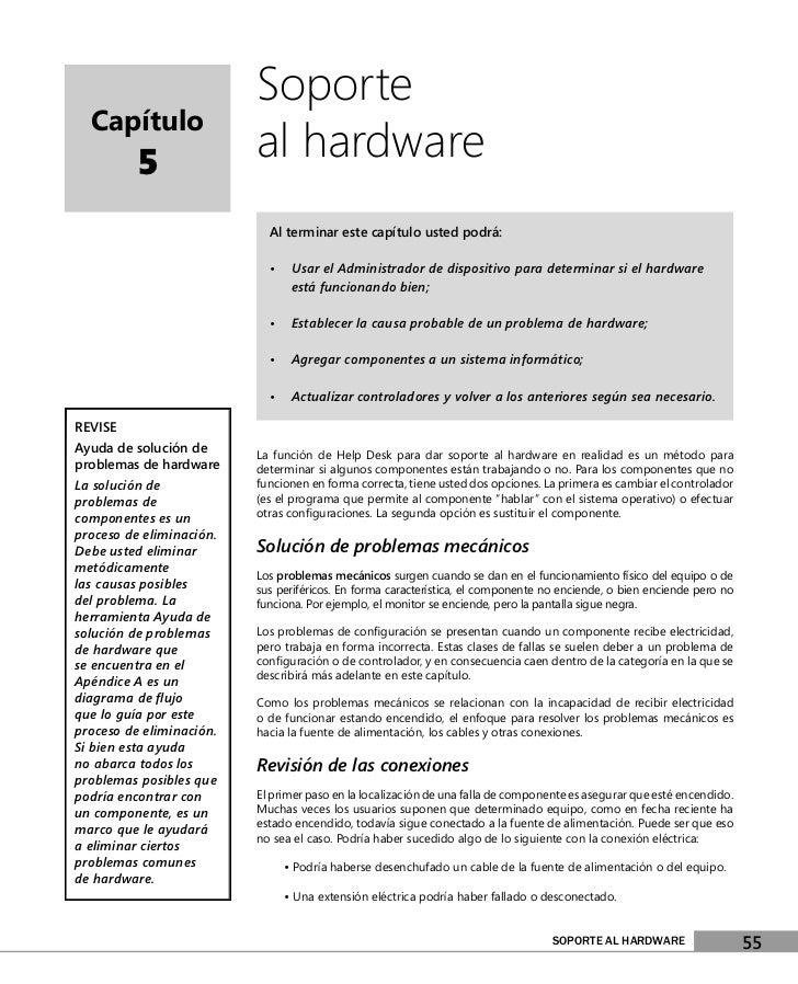Soporte  Capítulo          5               al hardware                            Al terminar este capítulo usted podrá:  ...