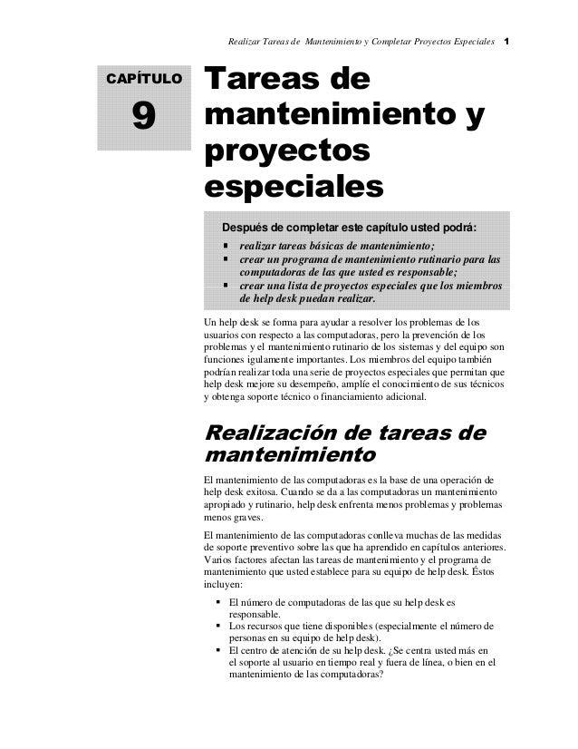 Realizar Tareas de Mantenimiento y Completar Proyectos Especiales 1 Tareas de mantenimiento y proyectos especiales Un help...