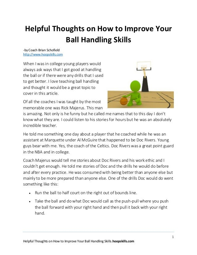 Helpful thoughts on how to improve your basketball handling skills