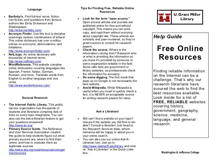 Help Guide for Free Online Resources