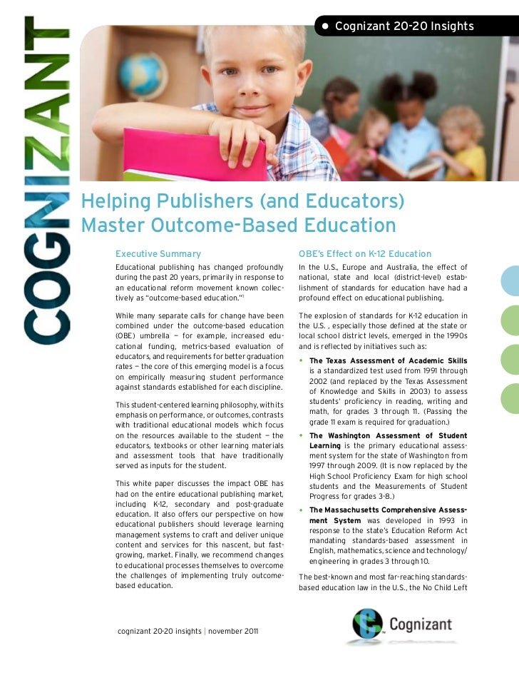 • Cognizant 20-20 InsightsHelping Publishers (and Educators)Master Outcome-Based Education   Executive Summary            ...