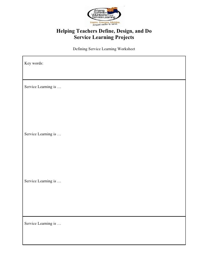 Helping teachers define design and do service learning projects  worksheets
