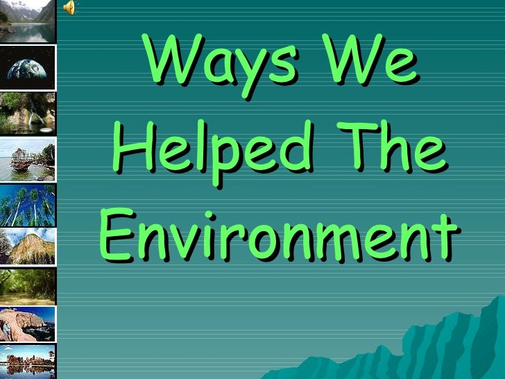 Ways We Helped The Environment