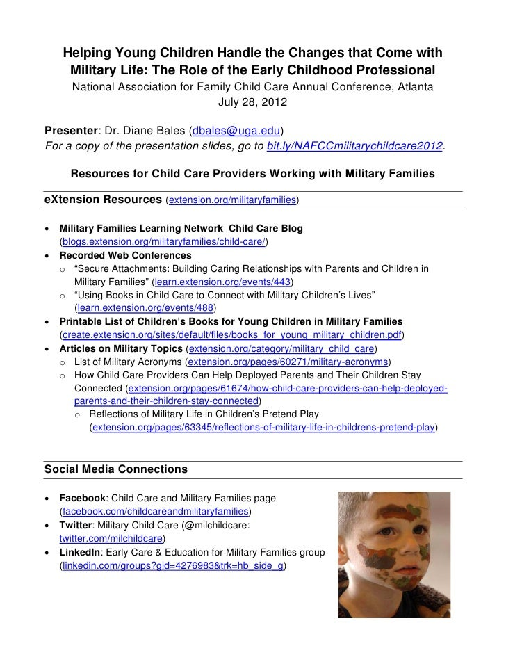 Resources for family child care providers to help young children handle the changes of military life  - NAFCC handout, July 28, 2012