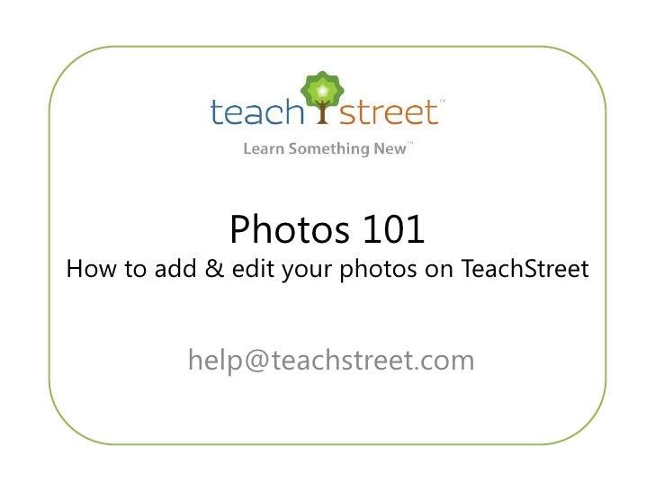 Manage Photos on TeachStreet