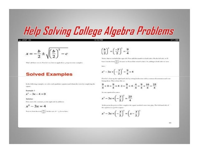 College algebra math equations